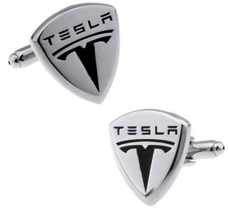 MasGemelos-Manschettenknöpfe aus Messing, mit Tesla-Logo