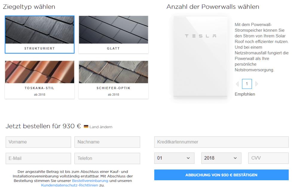 Foto: Bestellformular Tesla Solar Roof | © Tesla Motors
