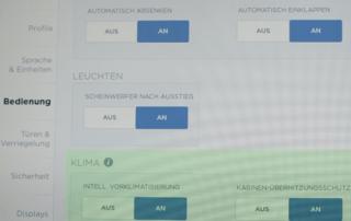 Tesla Klima Klimaanlage Klimaautomatik Einstellungen Intelligente Vorklimatisierung Deutschland Kabinen-Überhitzungsschutz Ratgeber Gebrauchtwagen greenspeed emobility