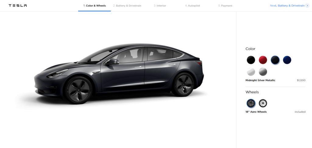 Foto: Konfigurator des Tesla Model 3 | © Hersteller