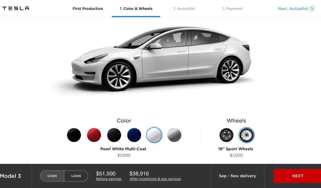 Foto: Tesla Model 3 Konfigurator | © Tesla Motors
