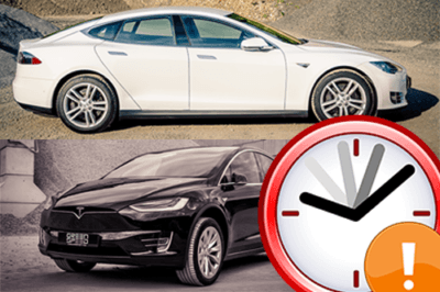Foto: Tesla Model S / Model X: Hohe Nachfrage verursacht späte Liefertermine | © Greenspeed (Fahrzeuge) / Wikipedia (Icon)
