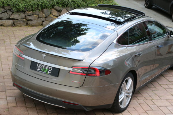 Tesla Model S P85D Titanium dual motors Heck Spoiler Heckspoiler Karbon Carbon Kohlefaser Autopilot Greenspeed emobility Elektroauto Gebrauchtwagen kaufen Deutschland Aachen NRW Euregio