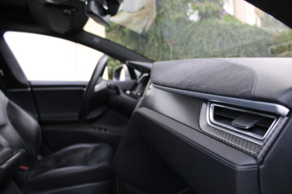Tesla Model S P85D Titanium dual motors Interieur Cockpit Lenkrad Dekor Karbon Carbon Kohlefaser Autopilot Greenspeed emobility Elektroauto Gebrauchtwagen kaufen Deutschland Aachen NRW Euregio