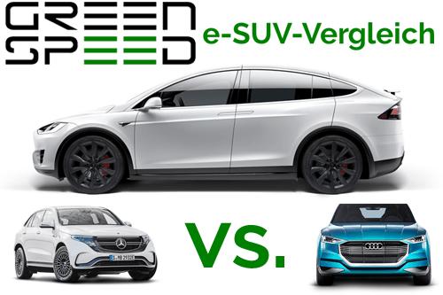 Vergleich SUV Elektroauto Tesla Model X Tesla Model S Mercedes-Benz EQC Audi e-tron Preise technische Daten Verfügbarkeit Marktstart Vergleichstabelle