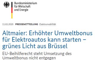 Foto: Wie das Bundesministerium für Wirtschaft und Energie (BMWi) in einer Pressemitteilung vom 11. Februar 2020 mitteilt, hat die EU-Kommission keine Einwände gegen eine höhere finanzielle Förderung von Elektrofahrzeugen in Deutschland.