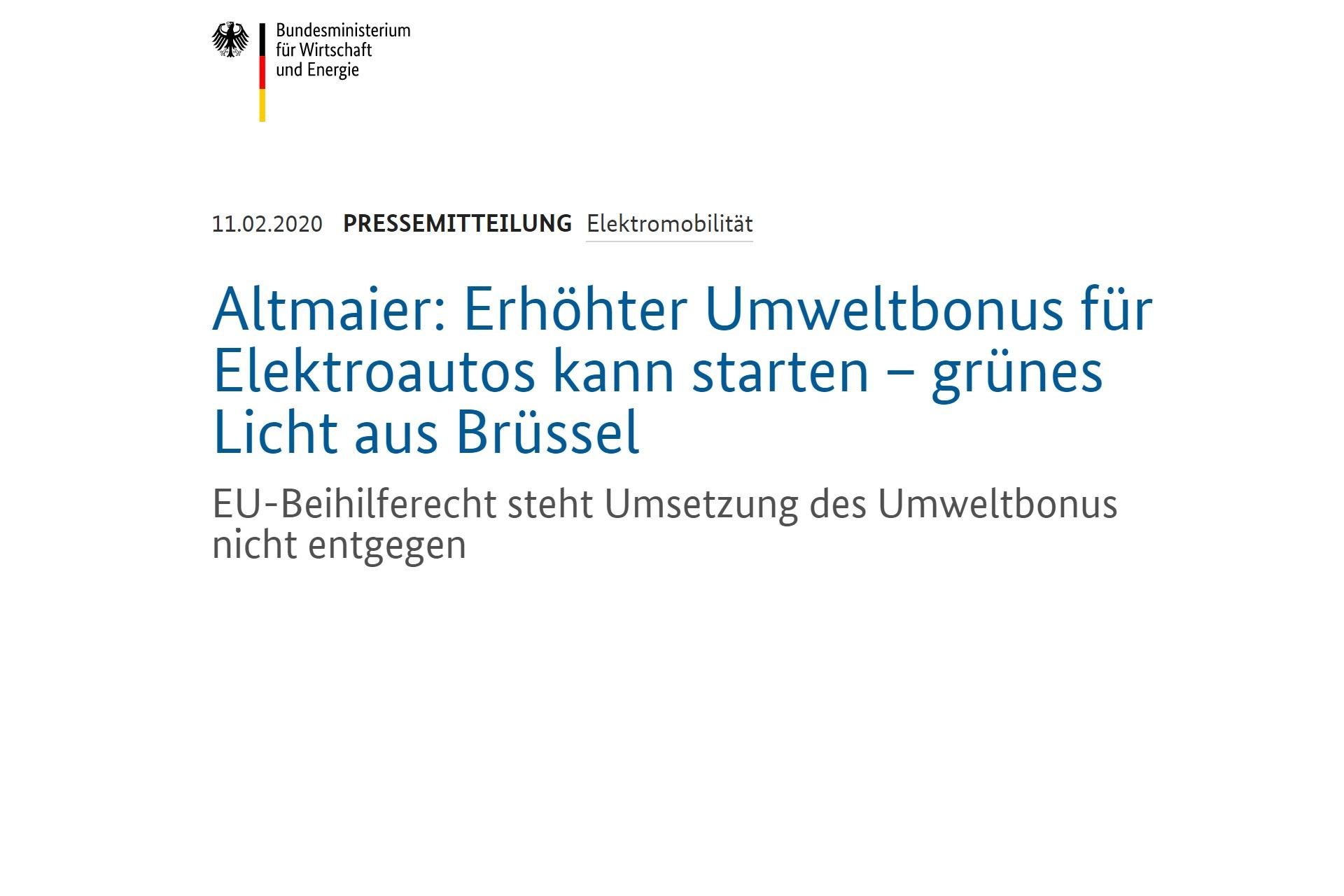 Umweltbonus Umweltprämie Elektroauto Färderung Altmaier Brüssel Bundesministerium für Wirtschaft und Energie