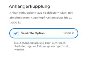 Foto: Die Anhängerkupplung für das Tesla Model 3 kostet bei der Neuwagenkonfiguration 1.060 Euro, kann nicht nachgerüstet werden. | © Screenshot: Tesla.com, 27.10.2020